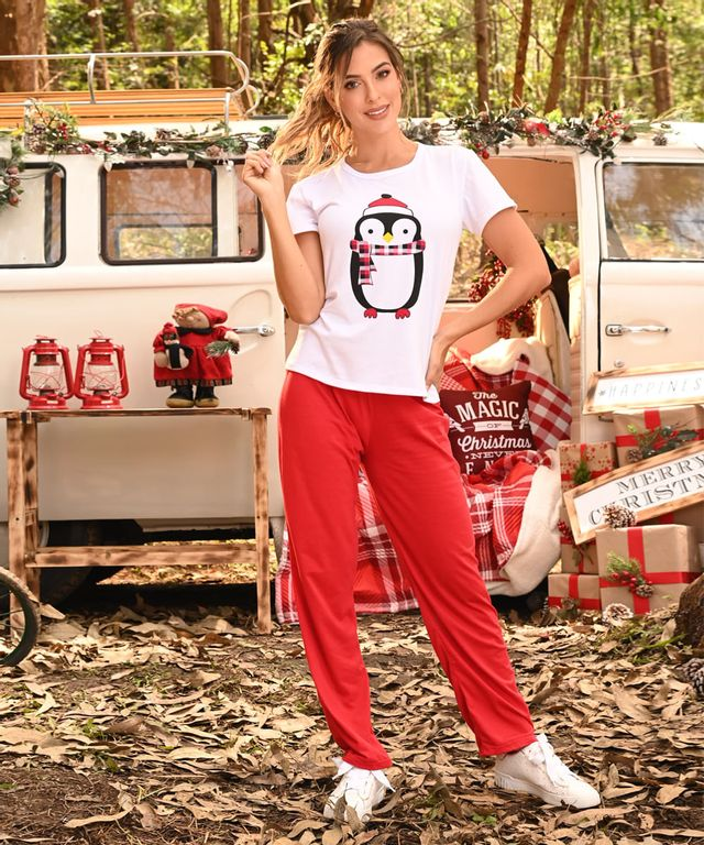 Pijama-Pinguino-Woman-Blanco-Rojo