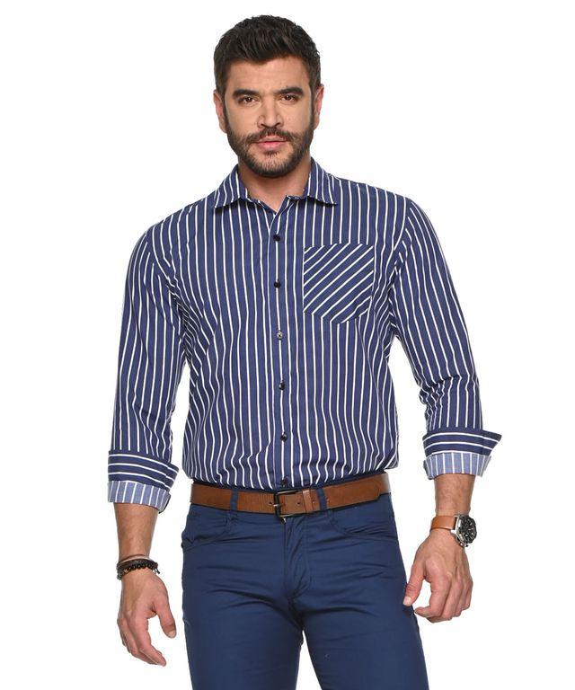 Camisa-Mugler-Rayas-Azul